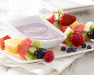 """bloo"" Blueberry Strawberry  Fruit Dip with a twist!"